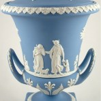 An Elegant Early 19th Century Wedgwood Pale Powder Blue Jasperware Neoclassical Campana Urn. c. 1820