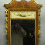 Superb Early American Federal Style Mirror c. 1840 Inlaid Mahogany Gilt Eglomise