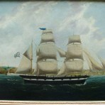 EARLY 19TH CENTURY ENGLISH SCHOOL OIL PAINTING OF A SAILING SHIP OFF WHITBY HARBOUR, c. 1840