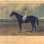 "Early 19th Century Hand-Painted Proof Engraving of the famous English Racehorse ""Lancelot"", 1840."