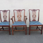 A Set of 12 Antique English Mahogany Chippendale Dining Chairs made by S & H Jewell, London, England c. 1880