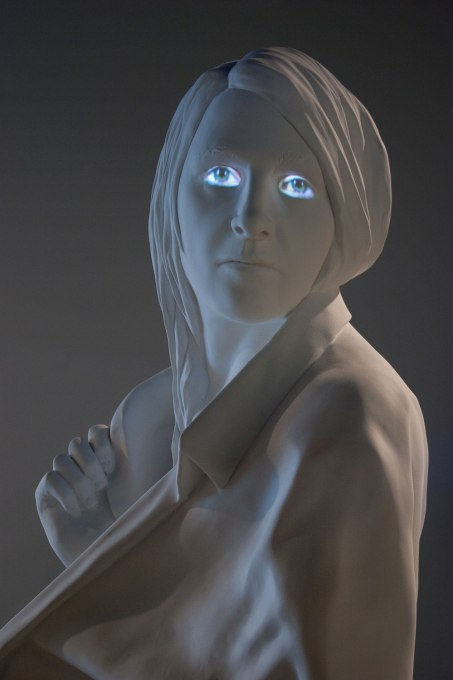 "2015, Installation at the Zuckerman Museum of Art (Kennesaw, GA), painted Aqua Resin and video projection, figure is 84"" tall"