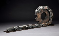 """Artifact Series, """"Gear and Chain"""", Mid Fired Stoneware and Saggar Fired, H 30"""" x W 96"""" x D 12"""", 2012"""