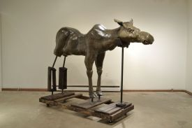 "I Always Thought Durer's Elk Was A Moose, Ceramic, paint, graphite, wood, steel, caster wheels, 96"" x 38"" x 64"", 2013"