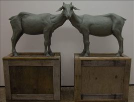 "The Inquisitors, stoneware, green porcelain slip, barn-wood crates constructed from found materials, 65""h x 80""l x 28""w"