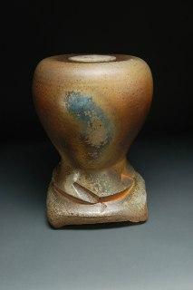 "Wood-fired white stoneware, 15""x10.5""x10.5"""
