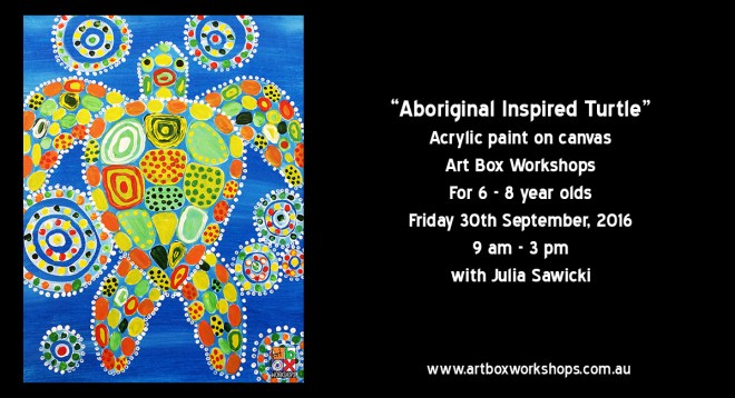 Aboriginal Inspired Turtle, painting on canvas, spring school holiday workshop at Art Box Workshops