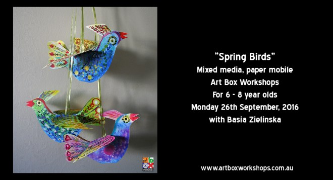 Mobile Birds in mixed media, spring school holiday workshop at Art Box Workshops
