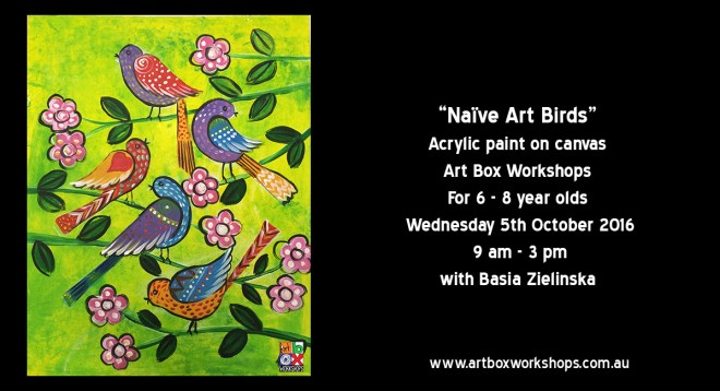 Naive Art Birds, painting on canvas  a spring school holiday workshop at Art Box Workshops