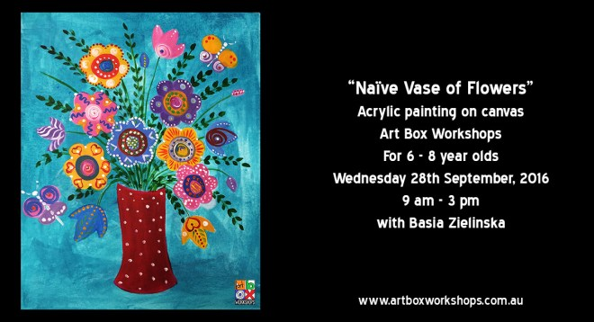 Naïve vase of flowers, spring school holiday workshop at Art Box Workshops