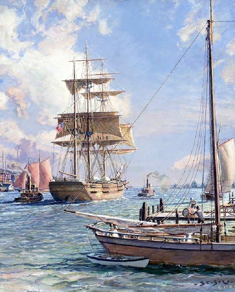 Image: New York Shipping on the East River, an oil on canvas by John Stobart is one of the valuable collectible at Baltimore Art, Antique & Jewelry Show
