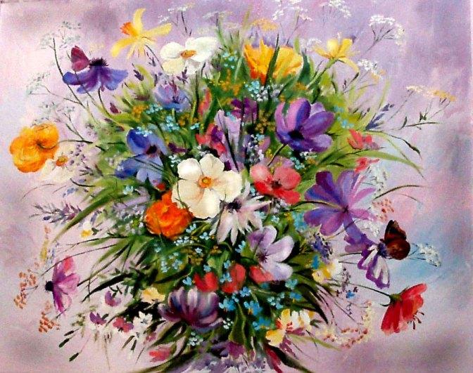 полевые цветы, холст, масло