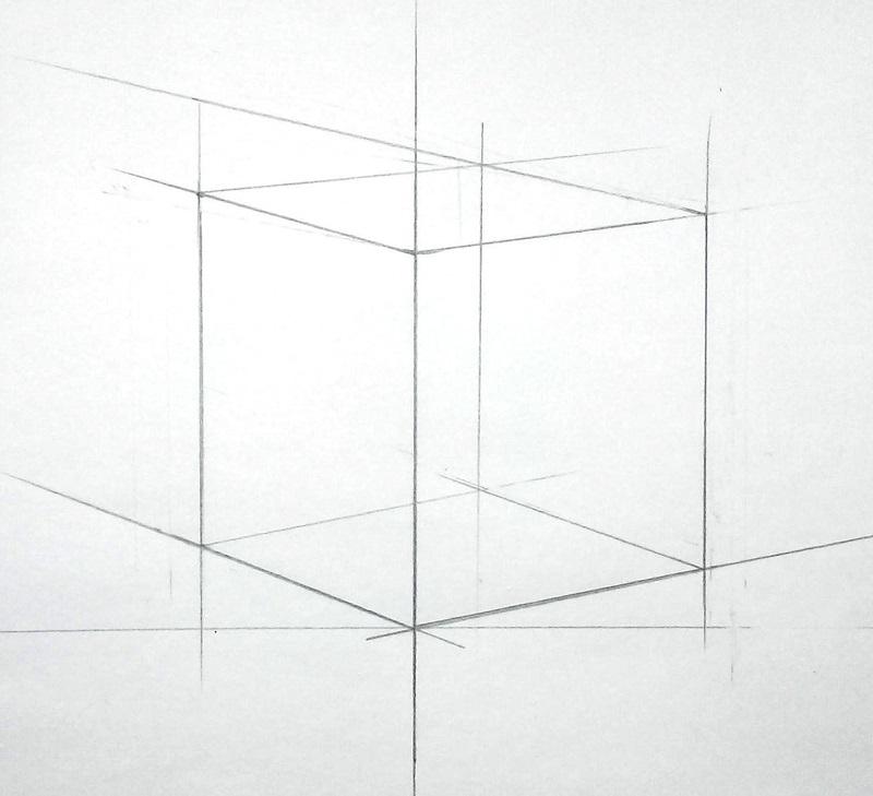 Пересечение дальних горизонтальных ребер куба
