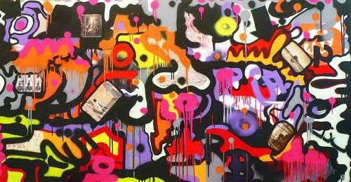 hings ain´t what they used to be - 97 x 185 cm - acrylic, spray paint and collage on canvas – 2009