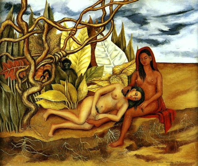"""""""Dos desnudos en un bosque"""" (1939) Es aquí donde Frida expresa abiertamente su bisexualidad."""