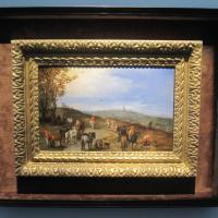 "Jan BRUEGHEL the ELDER ""An Extensive Landscape with Travellers on a Road"" 1608 oil on copper 7 x 11 inches $1,600,000 at Koetser Gallery"