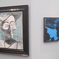 "A whimsical curatorial pairing - a Warhol ""Jackie"" from 1964 confronts a Picasso ""Jacqueline"" from 1962. At Edward Nahem Gallery"