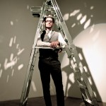 Mattia Biagi (artist) with Ladder installation
