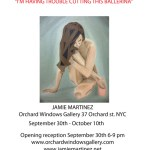 "Orchard Windows Gallery presents ""I'm having trouble cutting this ballerina"" A Solo exhibition by Jamie Martinez and his painting technique called Triangulism"