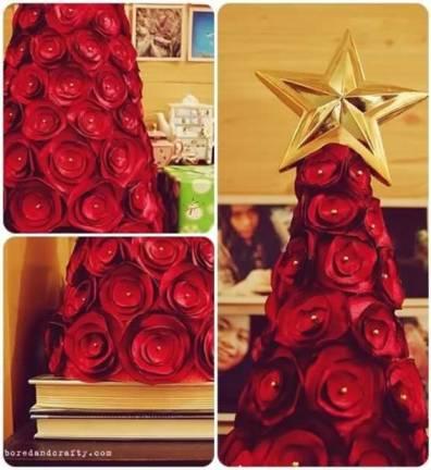 Árvore de Natal de flores de tecido