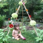 A Flowery Bean Pole Teepee &  Blueberry Cobbler