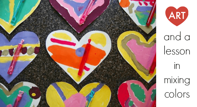 Heart art and a lesson in mixing colors for kids