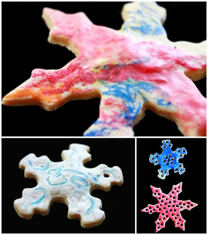 Salt Dough Snowflake Ornaments Decorated with Melted Crayon Art