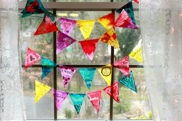 Melted crayon stained glass bunting 60
