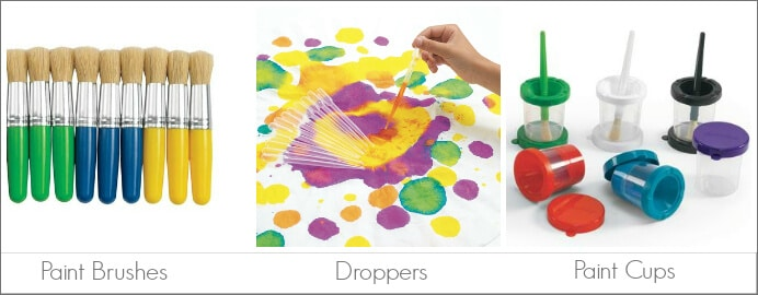 Kids Art Tools -- for Transfering Paint to Paper, including brushes, droppers, and paint cups