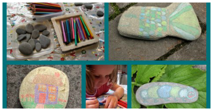 Kids Art with Rocks - Colored Pencils on Rocks