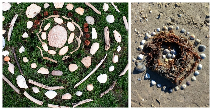 Kids Art with Rocks - Nature Mandala