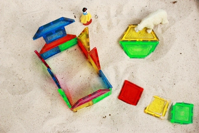Magnetic Tiles for Kids - Using them in the Sandbox