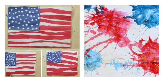 Patriotic Art Projects - Flag Collage and Splat Art