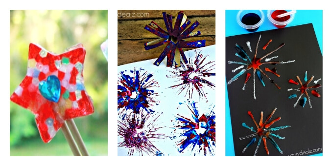 Patriotic Art Projects - Star Wand and Fireworks Art