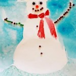 Winter Art for Kids :: Glue Resist Snowman Paintings