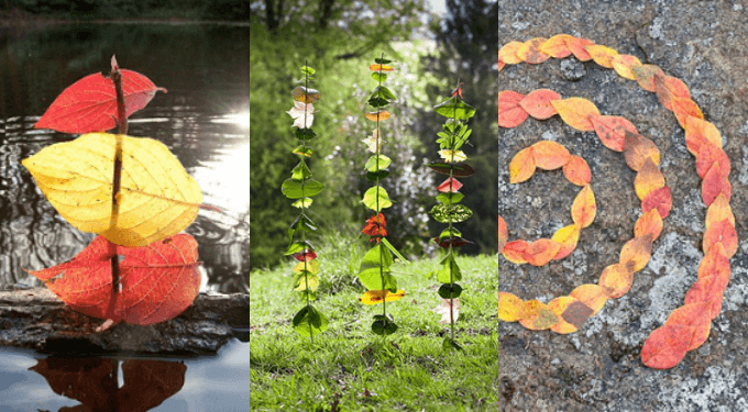 Land Art for Kids with Leaves and Other Nature Items