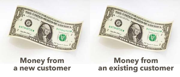 Money earned from new customer vs. existing