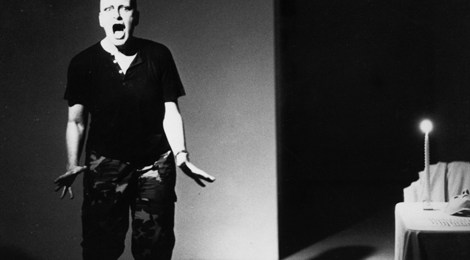 Traps, Rachel Rosenthal Performance, 1989, Photo by Daniel Joseph Martinez.