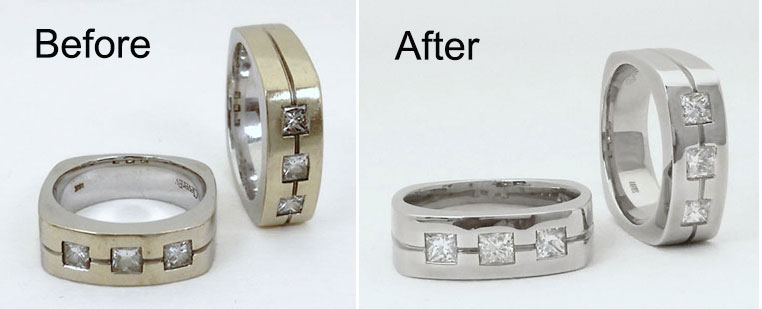 White gold rings dipped