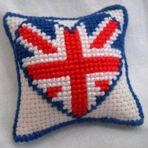 Hand Stitched Dolls House Cushions Cross Stitch 1/12th scale Love GB Design