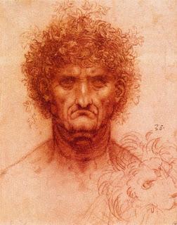 Old Man with Ivy Wreath and Lion's Head, Leonardo Da Vinci