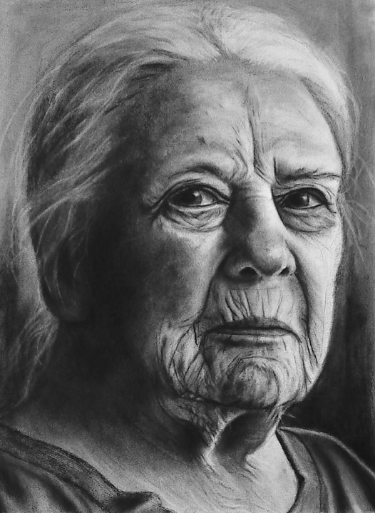 Nothing Interesting to Say, charcoal drawing by Terra Fine