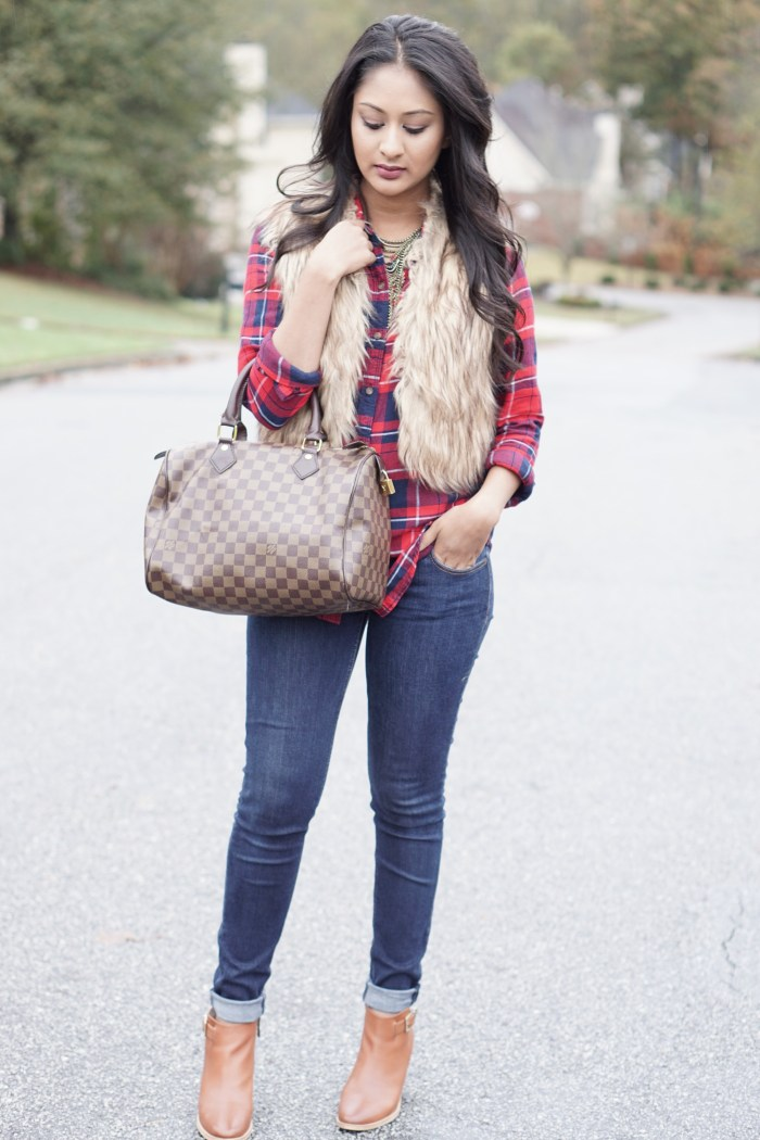 plaid and fur vest