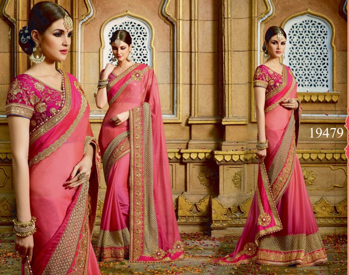 Pink Colored Chiffon Rukmini v4 Designer Saree 19479