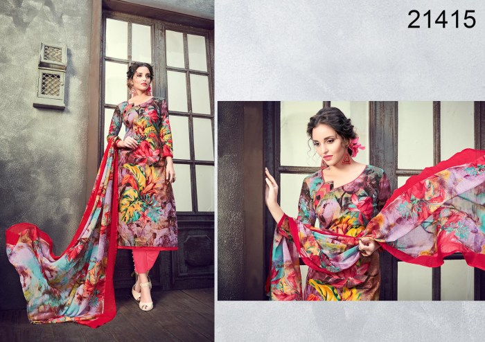 Multi Color Cambric Cotton Churidar Suits Material Abby 21415