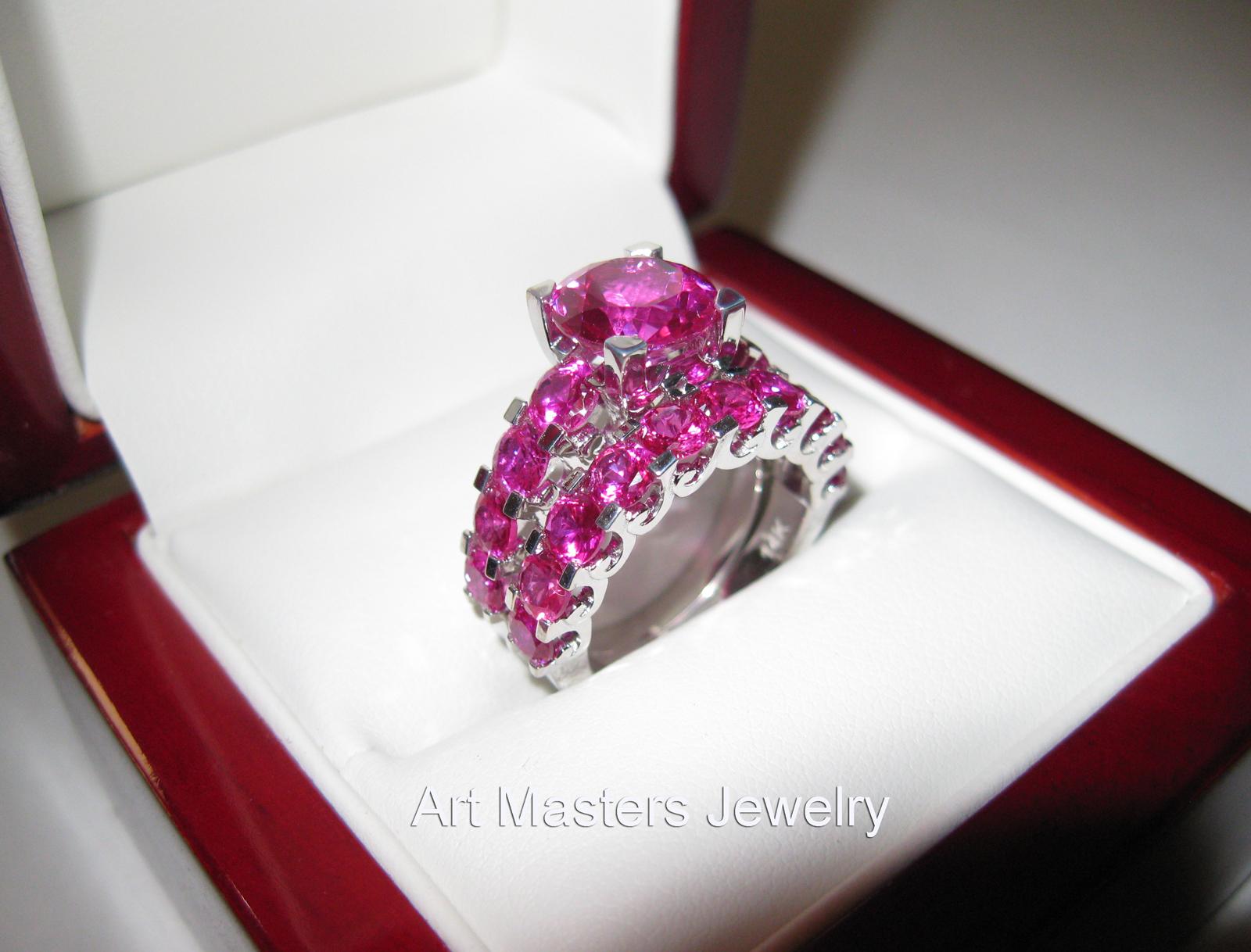 pink sapphire ring pink wedding rings Modern Vintage 14K White Gold 3 0 Ct Pink Sapphire Designer Wedding Ring Bridal Set RS