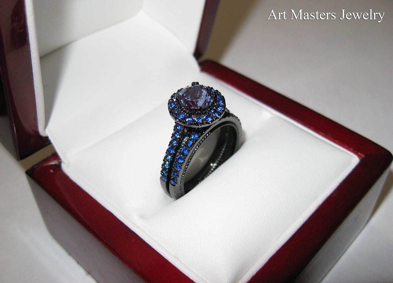 caravaggio ring black gold wedding band Caravaggio 14K Black Gold 1 0 Ct Russian Alexandrite Tanzanite Engagement Ring Wedding Band Set RS