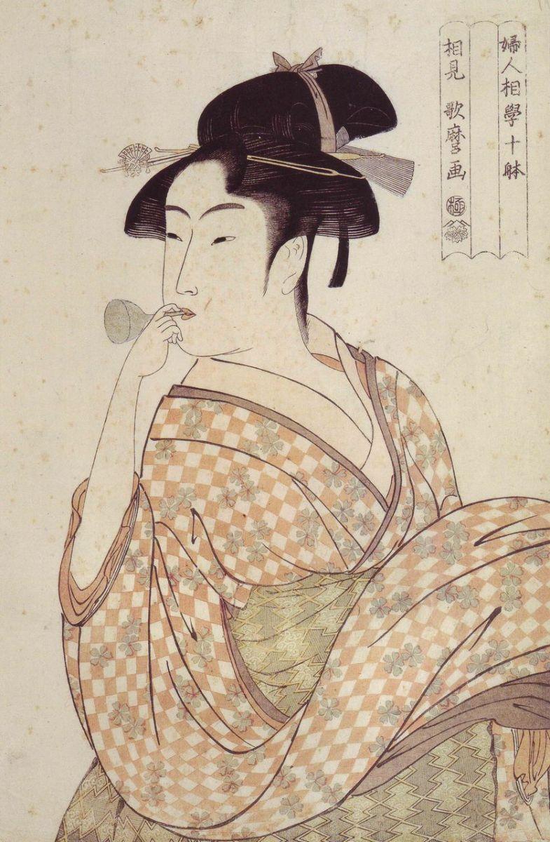 『婦人相学十躰 ほっぴんを吹く娘』 喜多川歌麿