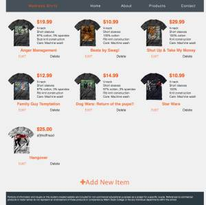 Madness Shirts admin products page