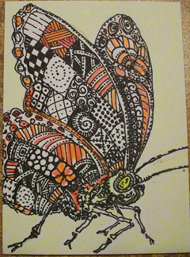 Zentangle Orange Butterfly